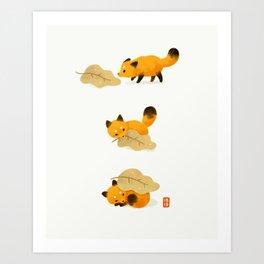 Fox and leaf blanket Art Print