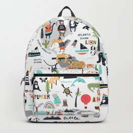 Animals World Map Animal Travelers Gray Backpack