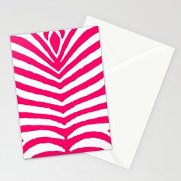 Bright Neon Pink and White Zebra Animal Safari Stripes Stationery Cards
