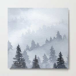Misty Forest Watercolor Metal Print