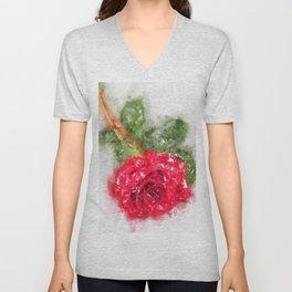 red rose watercolor Unisex V-Neck