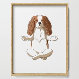 Yoga Cavalier King Charles Spaniel Serving Tray