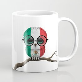 Baby Owl with Glasses and Mexican Flag Coffee Mug
