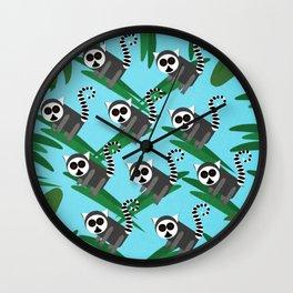 Lemur Pattern Blue Wall Clock