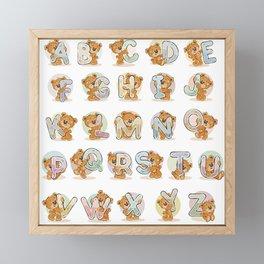 Alphabet of cheerful teddy bears Framed Mini Art Print