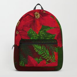 RED POINSETTIAS IN A BOWL WITH GREEN FERNS Backpack