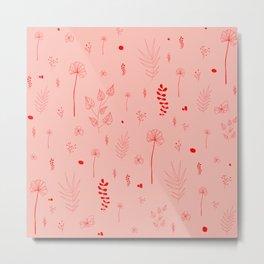 Wild botanical pattern Pink Edition Metal Print