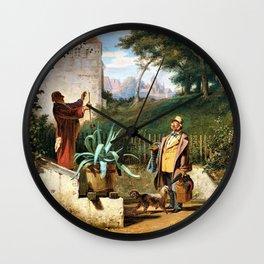 Childhood Friends - Carl Spitzweg Wall Clock