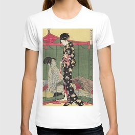 Fujin Tomarikyaku no zu by Utamaro Kitagawa (1753-1806) translated Woman with a Visitor a print of a traditional Japanese women in a mosquito net tent exposing breasts and a man standing on the side T-shirt