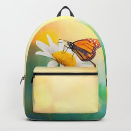 Flowers With Butterflies in the spring garden illustration Backpack