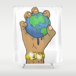 Quality Key: World at the Palm Shower Curtain