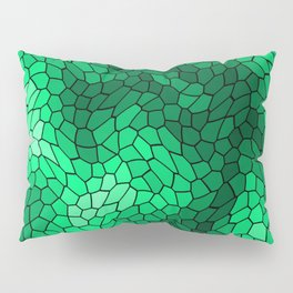 Stained glass texture of snake green leather with bright heat spots. Pillow Sham