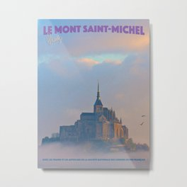 Vintage-Style Le Mont Saint-Michel Travel Poster Metal Print