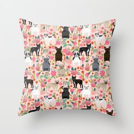 French Bulldog must have florals gifts dog breed pet lover frenchies forever Throw Pillow
