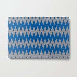 Zigzag Line Pattern Gray and Blue Pantone's Color of the Year 2021 Ultimate Gray and Skydiver Metal Print