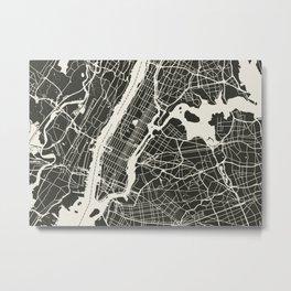 New York City Map_BLACK Metal Print