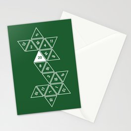 Green Unrolled D20 Stationery Cards
