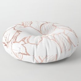 Modern handdrawn abstract faux rose gold flowers pattern Floor Pillow