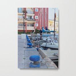 blue moorings in the marina Metal Print