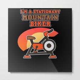 Stationary Mountain Bike Cyclist Pedelec Ebike Fan Metal Print