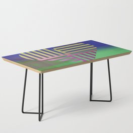 Decorative Blue Green Gold V Heart Pattern Coffee Table