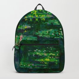 Claude Monet Impressionist Landscape Oil Painting Waterlilies Backpack