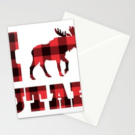 I Love Utah Moose Plaid Nature Outdoors Rustic Country Stationery Cards
