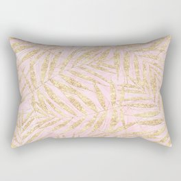 Elegant Gold Tropical Palm Leaves Pink Design Rectangular Pillow