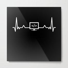 Programming Heartbeat Coding Developer Metal Print