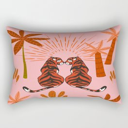 Tiger Love - Summer Blush Rectangular Pillow