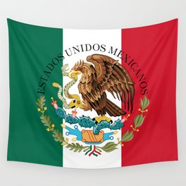 Mexican flag augmented scale with Coat of Arms Wall Tapestry