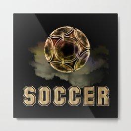 Golden Soccer Ball Metal Print