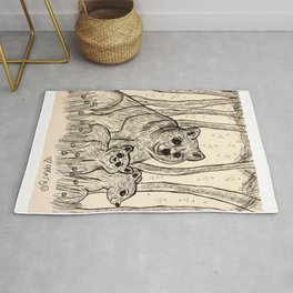 Mama Bear and Her Cute Cubs Rug