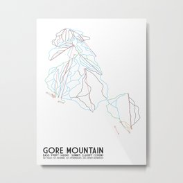 Gore Mountain, NY - Minimalist Trail Art Metal Print