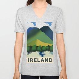 Ireland vintage landscape travel poster Unisex V-Neck