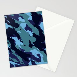 Blue Camouflage Pattern Decoration Stationery Cards
