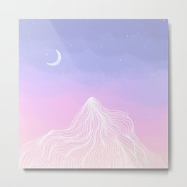 Big Bear Sunset with Moon Metal Print