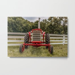 IH 240 Red International Farmall Tractor Front View Metal Print