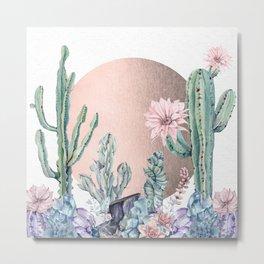 Desert Sun Cactus + Succulents Bronze on White Metal Print