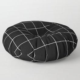 Minimal Grids Never Fail - White on Black Floor Pillow