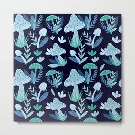 Mushroom Forest in Blue  Metal Print