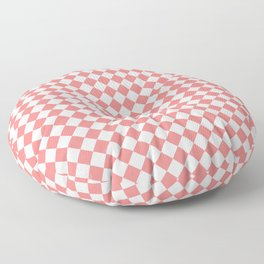 White and Coral Pink Diamonds Floor Pillow