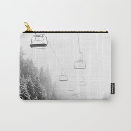 Snow Lift // Ski Chair Lift Colorado Mountains Black and White Snowboarding Vibes Photography Art Print Carry-All Pouch