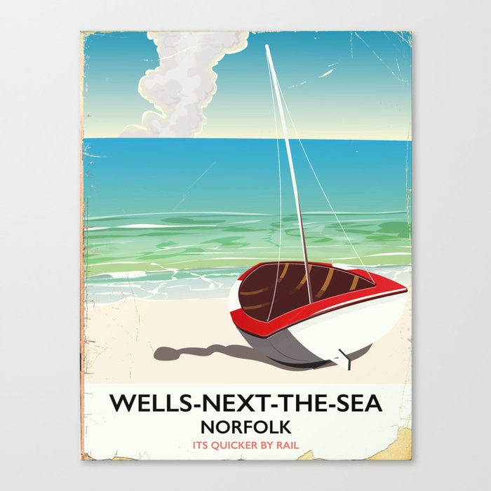 Vintage Beach Poster Canvas Print