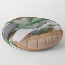 Green and White Sea Glass Floor Pillow