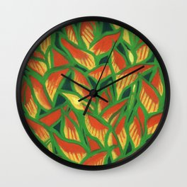Lobster Claw / Heliconia Rostrata, tropic flowers, green, yellow & orange Wall Clock