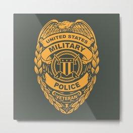 U.S. Military Police Veteran Security Force Badge, Gold Metal Print