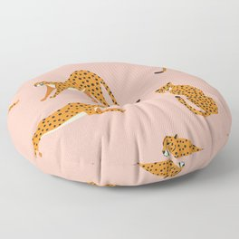 Cheetahs pattern on pink Floor Pillow
