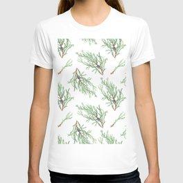 Juniper branches watercolor winter pattern T-shirt