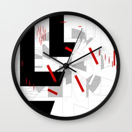 black and white meets red Version 10 Wall Clock